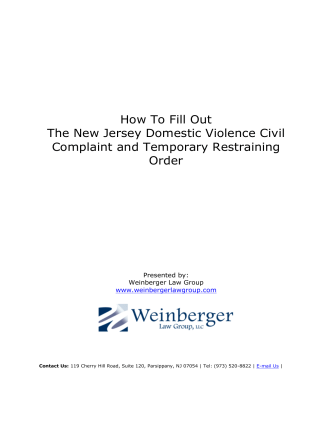 How To Fill Out The New Jersey Domestic Violence Civil Complaint