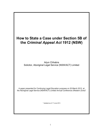 How to State a Case under Section 5B of the - Criminal Law CLE