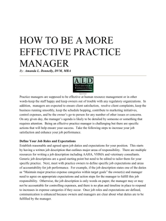 HOW TO BE A MORE EFFECTIVE PRACTICE