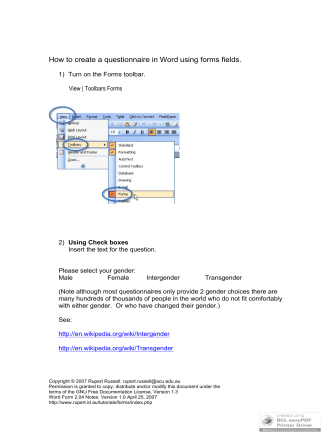How to create a questionnaire in Word using forms - Rupert.id.au