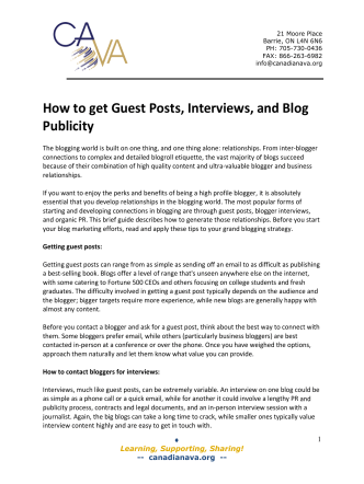 How to get Guest Posts, Interviews, and Blog Publicity