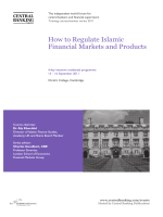 How to Regulate Islamic Financial Markets and - Central Banking
