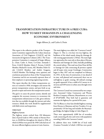 transportation infrastructure in a free cuba - Association for the Study