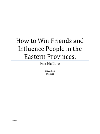 How to Win Friends and Influence People in the Eastern Provinces.