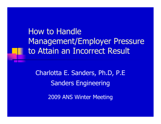 How to Handle Management/Employer Pressure to Attain an - RPSD