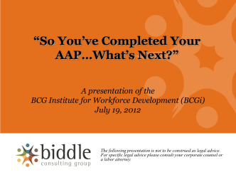 So Youve Completed Your AAP, Now What? - BCG Institute for