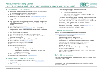 ASC Quick Start Guide - Aquaculture Stewardship Council