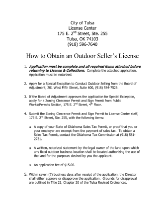 How to Obtain an Outdoor Sellers License - The City of Tulsa Online