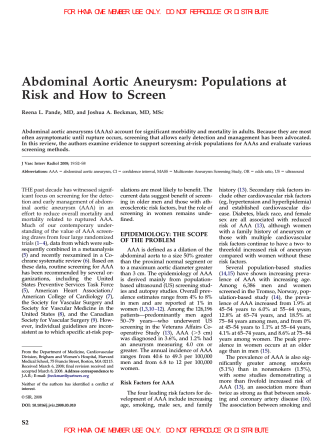 Abdominal Aortic Aneurysm: Populations at Risk and How to Screen