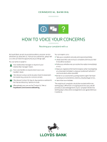 HOW TO VOICE YOUR CONCERNS - Lloyds Bank Commercial