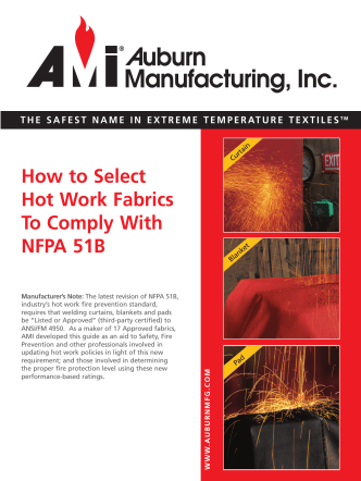 How to Select Hot Work Fabrics To Comply With NFPA 51B - Auburn