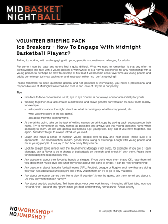 VOLUNTEER BRIEFING PACK Ice Breakers - How To Engage With