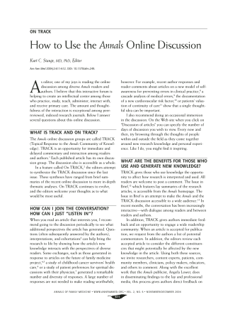 How to Use the Annals Online Discussion - The Annals of Family