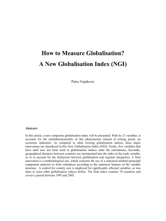 How to Measure Globalisation? A New Globalisation Index (NGI) - FIW