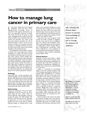 How to manage lung cancer in primary care - Global Lung Cancer