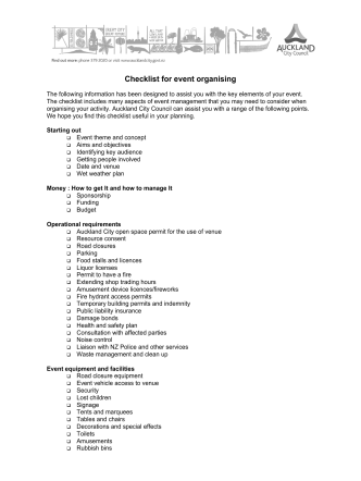 How to organise events - Checklist for event - Auckland Council