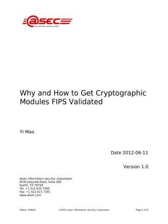 Why and How to Get Cryptographic Modules FIPS Validated - Atsec