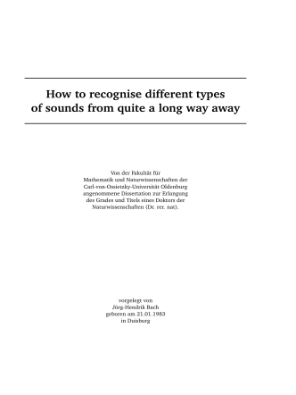 How to recognise different types of sounds from quite a long way away