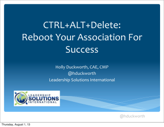 CTRL+ALT+Delete: How to Reboot Your Organization for Success