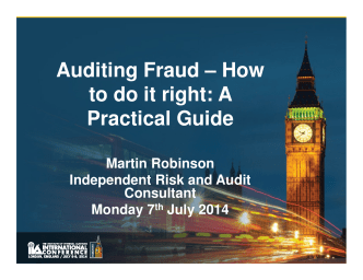Auditing Fraud – How to do it right: A Practical Guide - The IIAs 2014