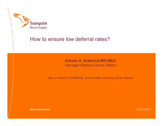 How to ensure low deferral rates? - European Blood Alliance