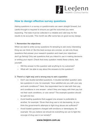How to design effective survey questions