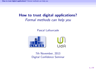 How to trust digital applications? Formal methods can help you