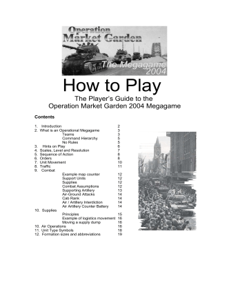 How to play in Operation Market Garden - Jim Wallman