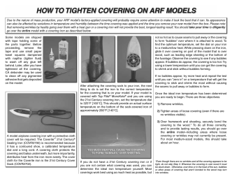 HOW TO TIGHTEN COVERING ON ARF MODELS