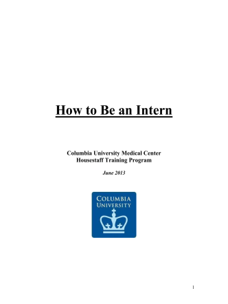 How to Be an Intern - Department of Medicine