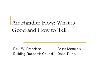 Air Handler Flow: What is Good and How to Tell - ACI National