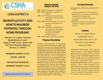 CSHA DISTRICT 6 NEUROPLASTICITY AND HOW TO MAXIMIZE