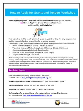 How to Apply for Grants and Tenders Workshop - Inner Sydney