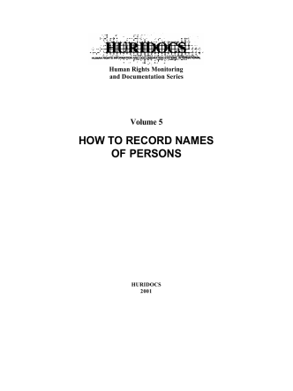 HOW TO RECORD NAMES OF PERSONS - Lucie Haskins