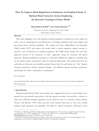 How To Improve Bank Regulation in Indonesia: An Empirical Study