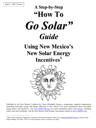 """How To Guide - New Mexico Solar Energy Association"