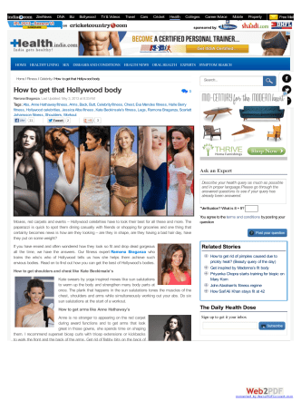 How to get that Hollywood body - Read Health Related - ItsMyVie