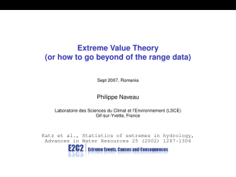 Extreme Value Theory (or how to go beyond of the range data) - LMD