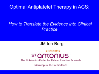 ESC Update Programme - Optimal antiplatelet Therapy in ACS