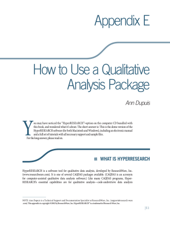 Appendix E How to Use a Qualitative Analysis Package