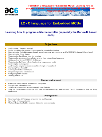 Formation C language for Embedded MCUs - Ac6-formation