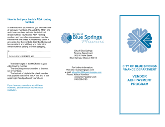 ACH/EFT Frequently Asked Questions Brochure - Blue Springs City