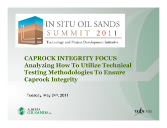 CAPROCK INTEGRITY FOCUS Analyzing How To Utilize Technical
