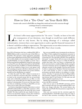 "How to Get a ""Do-Over"" on Your Roth IRA - Nelson Securities, Inc."