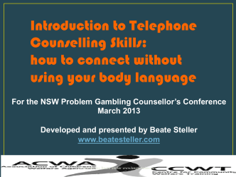 Introduction to Telephone Counselling Skills: how to connect without
