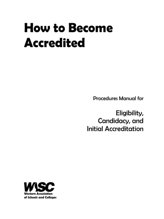 How to Become Accredited - WASC