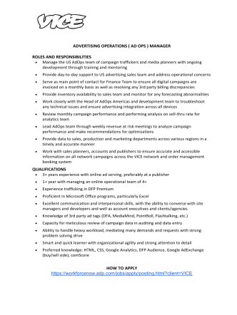 ADVERTISING OPERATIONS ( AD OPS ) MANAGER ROLES AND