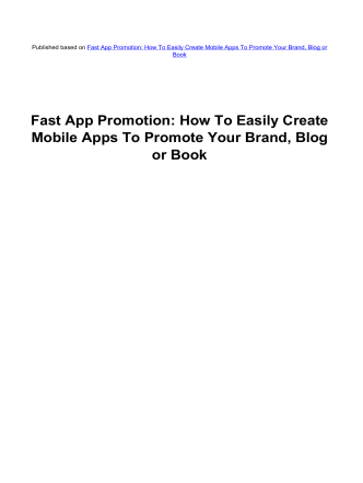 Fast App Promotion - Amy Harrops Blog