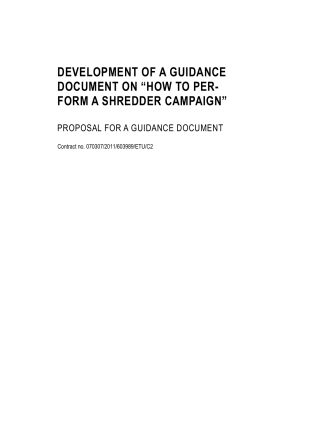"DEVELOPMENT OF A GUIDANCE DOCUMENT ON ""HOW TO PER"