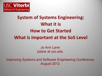 System of Systems Engineering: What it is How to Get Started - SSQI